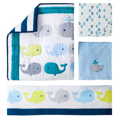 4pc Crib Bedding Set - Whales 'n Waves by Circo