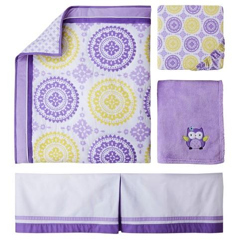 Circo 4pc crib bedding set purple medallion product details page