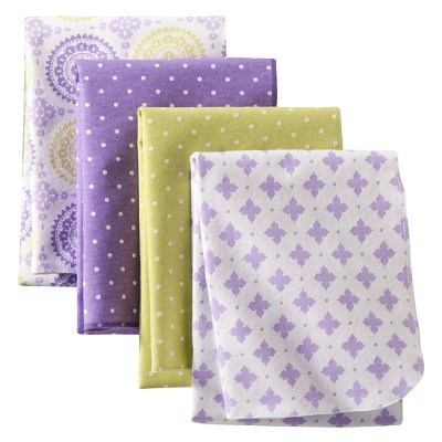 Circo® 4pk Flannel Receiving Blankets - Purple Medallion