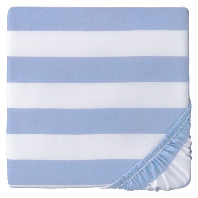 Circo® Woven Fitted Crib Sheet - Rugby Stripe - Light Blue