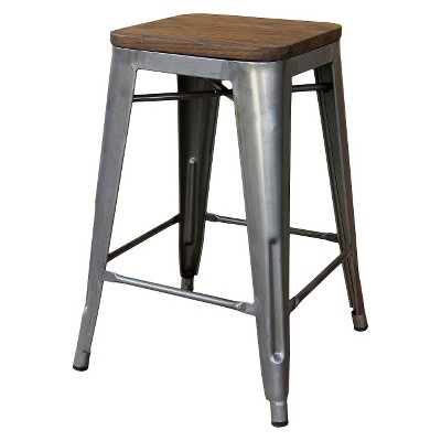 "Hampden Industrial 24"" Counter Stool - Natural Metal (1 Pk) - Threshold™"