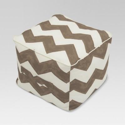 Outdoor Fabric Pouf - Taupe Chevron - Threshold™