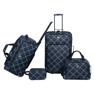 Skyline 4-Piece Luggage Set - Black/Grey Plaid Print