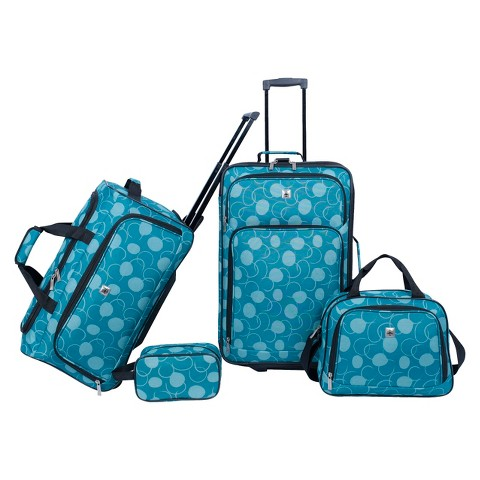 Skyline 4-Piece Luggage Set - Teal Dot Print
