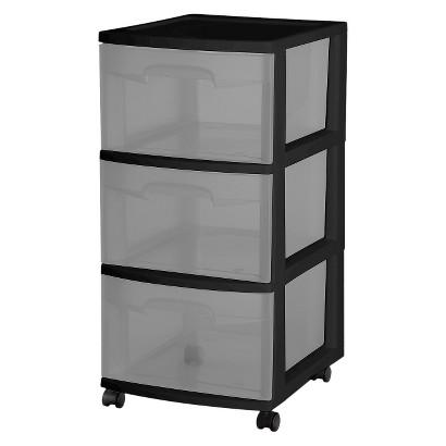 Sterilite® 3-Drawer Medium Cart - Black