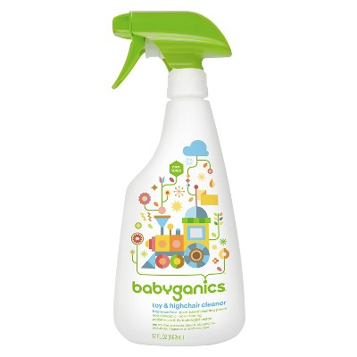 Babyganics Toy & Highchair Cleaner Spray, Fragrance Free - 17oz Spray Bottle
