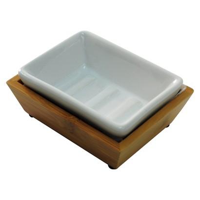 THRESHOLD SOAP DISH BAMBOO CERAMIC