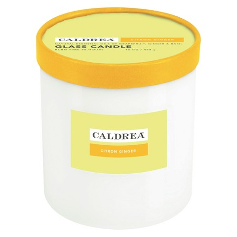 Caldrea Essentials Collection Candle White Glass Citron Ginger - 16 oz