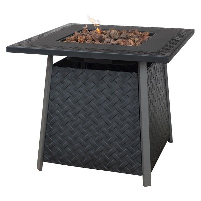 Uniflame Bronze Faux Wicker LP Gas Fire Pit with Ceramic Tile Surround
