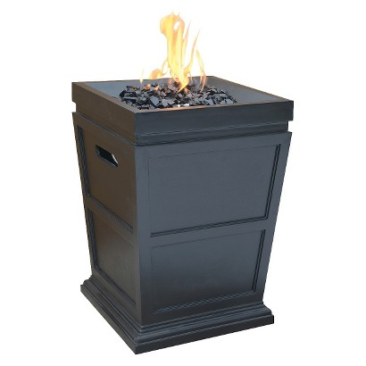 "Uniflame Large 28"" LP Gas Fire Column with Black Fire Glass"
