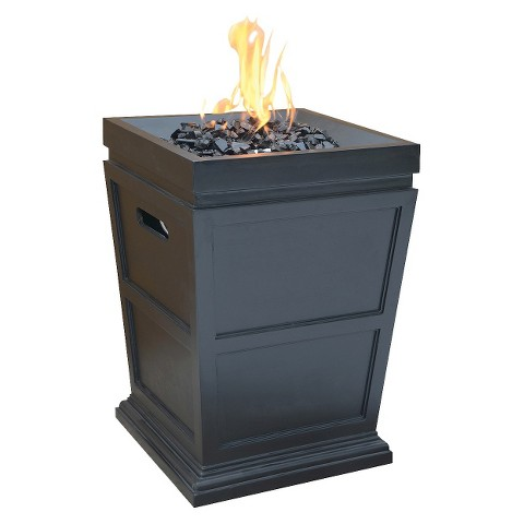 """Uniflame Large 28"""" LP Gas Fire Column with Black Fire Glass"""
