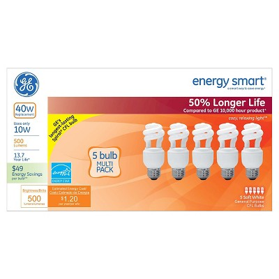 GE 40-Watt CFL Light Bulb (5-Pack) - Soft White