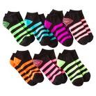 Girls' 7-Pack Low Cut Black Striped Socks