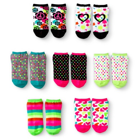 Girls' 7-Pack Peace and Love No-Show Socks