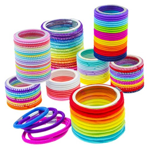 Gimme Clips Pastel/Rainbow Fabric Elastics  - 130 Count