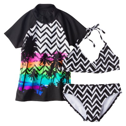 Girls' 2-Piece Short-Sleeve Swim Rashguard and Chevron Bikini Swimsuit Set
