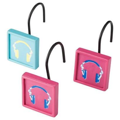 Headphone Girl Shower Curtain Hooks