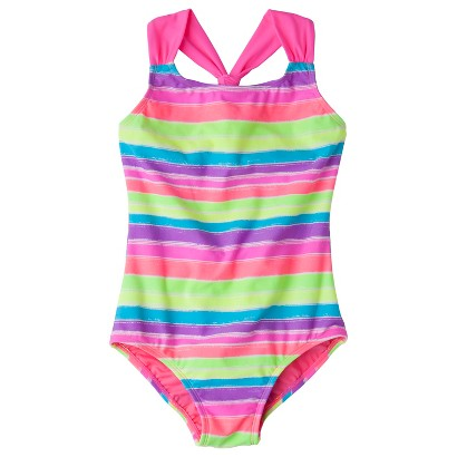 Girls' 1-Piece Striped Swimsuit