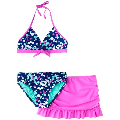 Girls' 3-Piece Polka Dot Halter Bikini Swimsuit Set