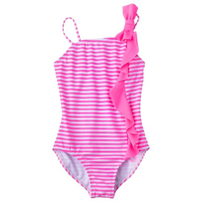 Girls' 1-Piece Ruffled Asymmetrical Swimsuit
