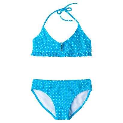 Girls' 2-Piece Polka Dot Halter Bikini Swimsuit Set