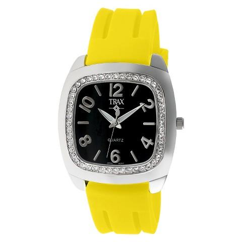 Women's Trax Malibu Crystal Black Dial 40mm Watch - Yellow