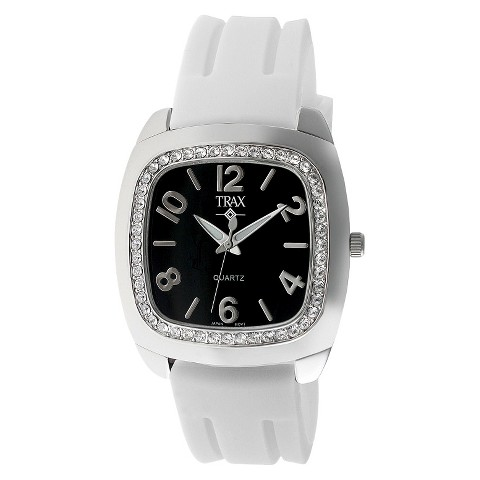 Women's Trax Malibu Crystal Black Dial 40mm Watch - White