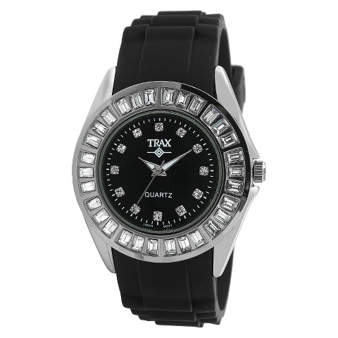 Women's Trax Rox Crystal Black Dial 35mm Watch - Black