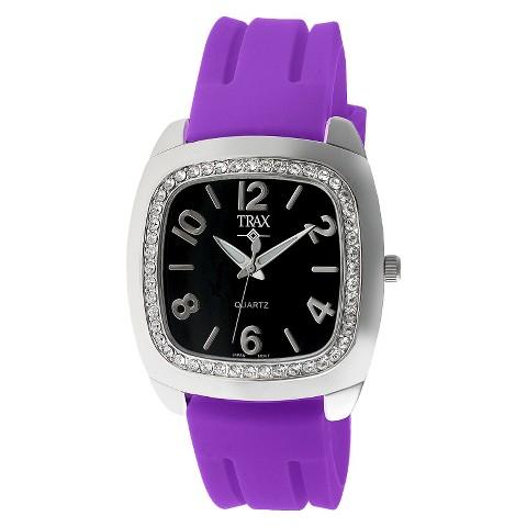 Women's Trax Malibu Crystal Black Dial 40mm Watch - Purple