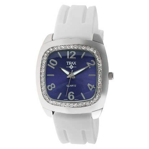 Women's Trax Malibu Crystal Blue Dial 40mm Watch - White