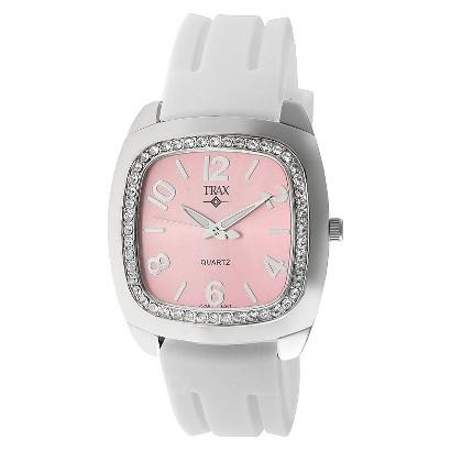 Women's Trax Malibu Crystal Pink Dial 40mm Watch - White