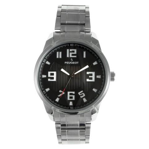 Men's Peugeot Carbon Fiber Cutout Dial Watch - Silver