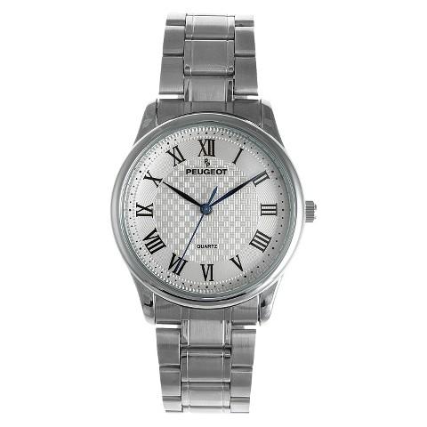 Men's Peugeot® Vintage Guilloché Silver Dial Watch - Silver