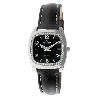 Women's Peugeot Swarovski Crystal Black Dial Watch - Black