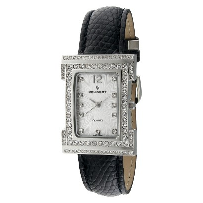 Women's Peugeot Swarovski Crystal Silver Dial Watch - Black