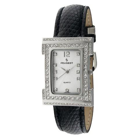 Women's Peugeot Swarovski Crystal Silver Dial Watch - Black