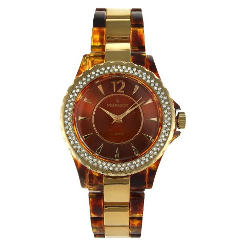 Women's Peugeot Acrylic Tortoise Crystal Brown Dial Watch - Brown