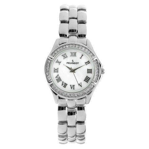 Women's Peugeot Swarovski Crystal Mother-of-pearl Dial Watch - Silver