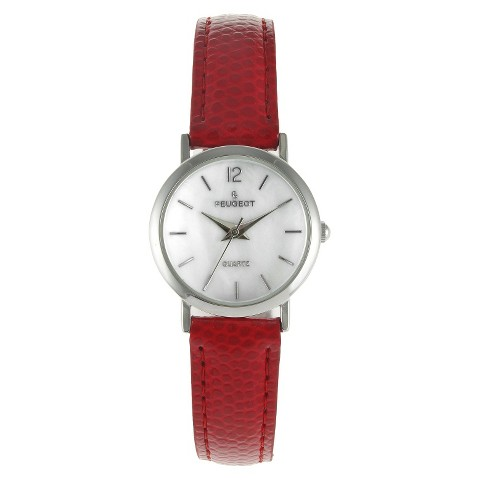 Women's Peugeot Classic Red Leather Silver Dial Watch - Red