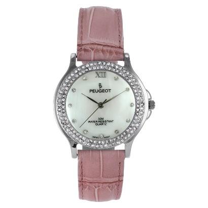 Women's Peugeot Crystal Bezel Bubble Pink Watch - Pink