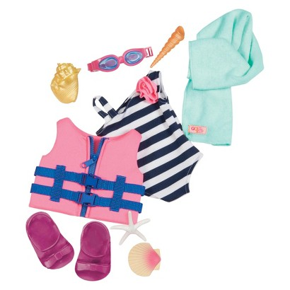 """Our Generation 18"""" Doll Outfit – Bathing Suit & Life Vest"""