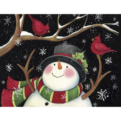 Boxed Holiday Cards - Snowman with Cardinals