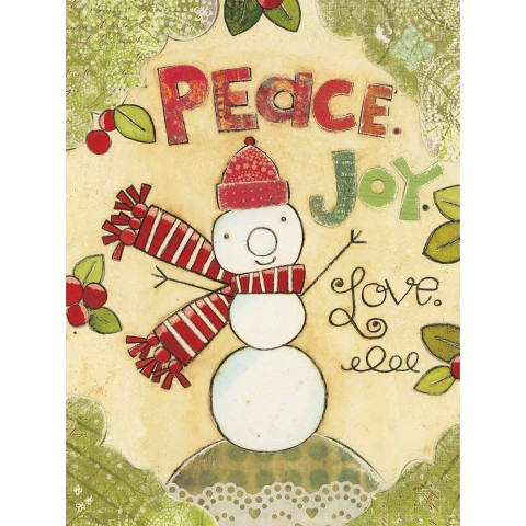 Classic Christmas Card - Peace Love Snowman