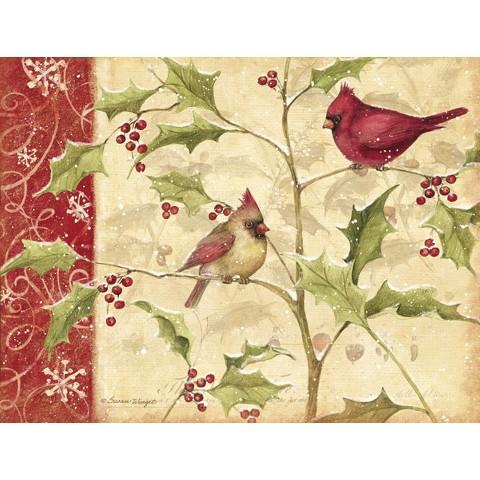 Boxed Christmas Card - Cardinals and Holly