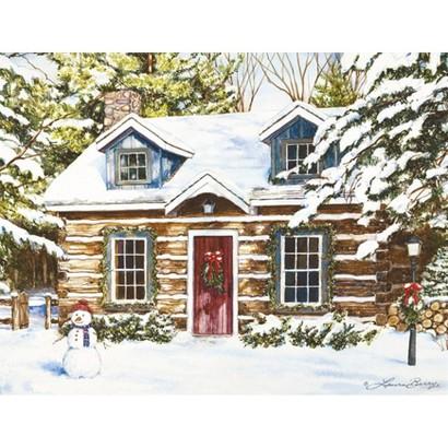 Boxed Christmas Card - Log Cabin Holiday