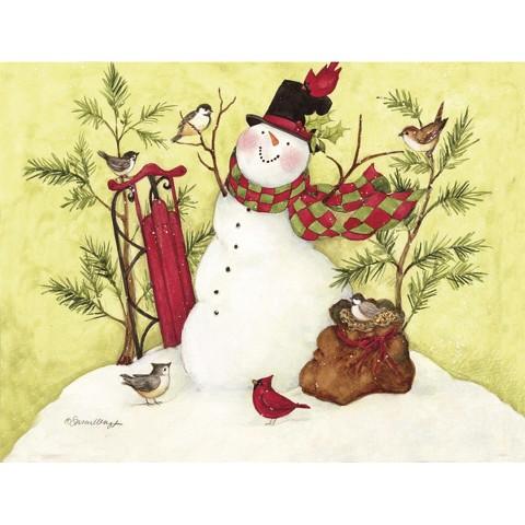 Boxed Christmas Card - Snowman Sled
