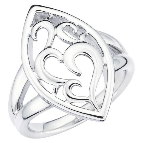 SHE Sterling Silver Open Scroll Marquise Shape Ring-Silver