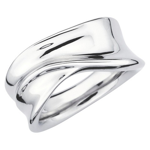 SHE Sterling Silver Sleek Dimensional Ring-Silver