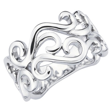 She Sterling Silver Open Scroll Ring