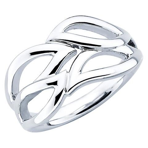 SHE Sterling Silver Open Tear Drop Design Ring-Silver